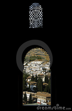 Granada through Moorish windows of Nasrid Palace