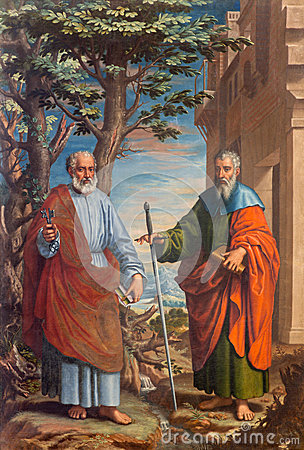 Free Granada - The Painting Of St. Paul And St. Peter In Church Monasterio De La Cartuja By Fray Juan Sanchez Cotan (1560 - 1627) Royalty Free Stock Photo - 55623795
