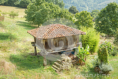 Granary of Asturias raised by pillars and known as
