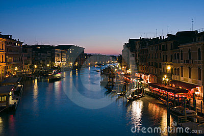 The Grand Canal at dusk in Venice