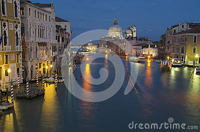 Grand Canal at night, Venice Editorial Photo