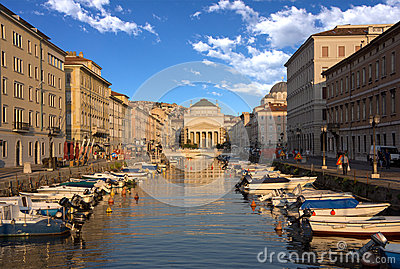 Grand Canal, Trieste, Italy Editorial Photo