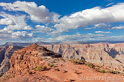 Grand canyon with blue sky and clouds