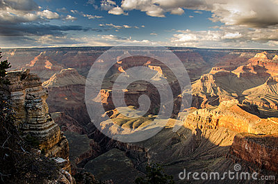 Grand Canyon with fluffy clouds