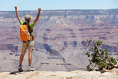 Grand Canyon hiking woman hiker happy and cheerful