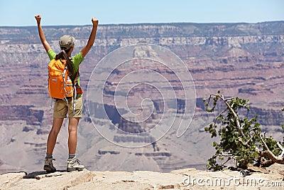 Grand Canyon hiking woman hiker happy and cheerful