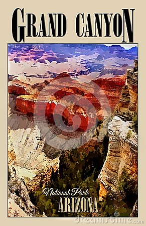 Grand Canyon National Park, Arizona, Travel Poster