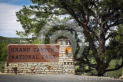Grand Canyon National Park Sign Editorial Stock Image