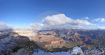 Grand Canyon panorama with snow