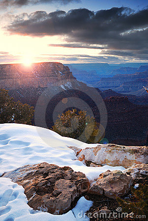 Grand Canyon sunrise in winter with snow