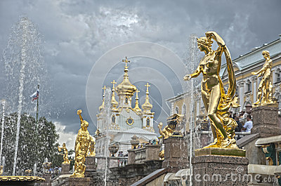 Grand Cascade Fountains in Peterhof Palace