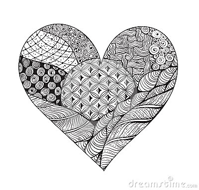 Grand Coeur Noir Et Blanc De Zentangle Illustration De