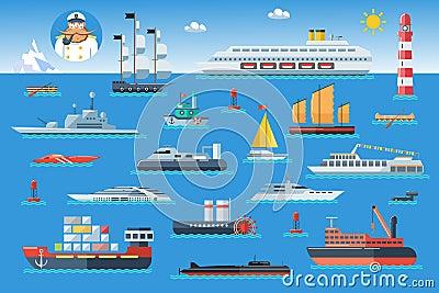 grand ensemble de bateaux de mer arrosez le chariot et le transport maritime dans le style plat. Black Bedroom Furniture Sets. Home Design Ideas