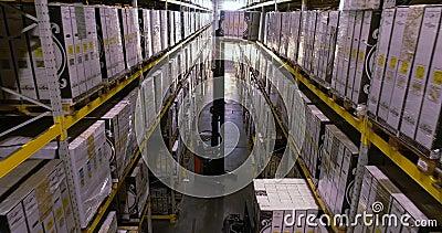 Grand entrepôt lumineux, entrepôt avec produits finis à l'usine banque de vidéos
