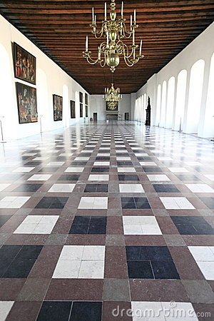 Grand hall of Kronborg castle, Denmark Editorial Stock Image