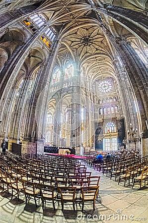 The grand interior of the landmark Saint-Eustache church Editorial Stock Photo
