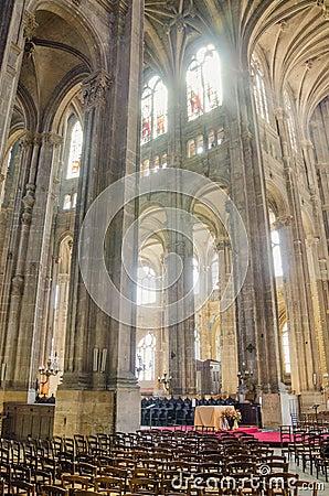 The grand interior of the landmark Saint-Eustache church Editorial Image