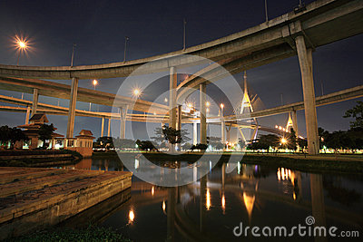 Grand King Bhumibol Bridge with reflection on pond