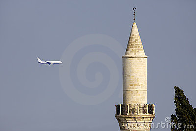 Grand Mosque, Larnaca, and Airplane