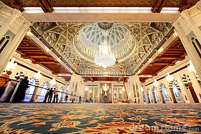 Grand mosque in Oman general view interior
