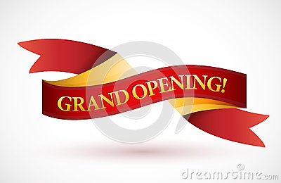 Grand Opening Red Waving Ribbon Banner Royalty Free Stock ...