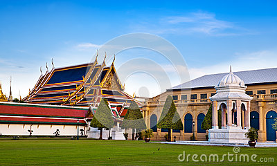 The Grand Palace & Wat Phra Kaew (The Emerald Buddha Temple), Bangkok, Thailand. landmark of Thailand.