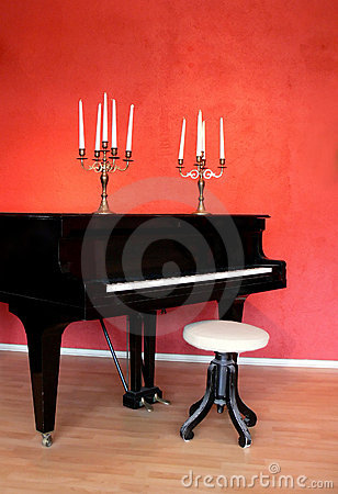 Grand Piano and Candelabras