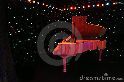 Grand piano at concert stage