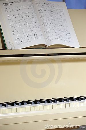 Grand piano with notes