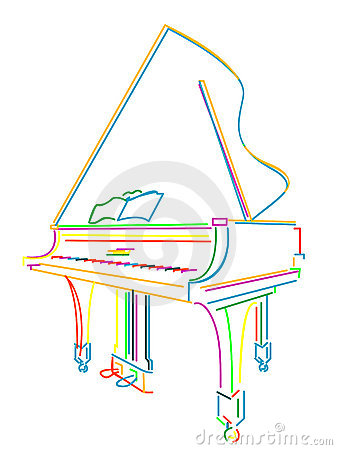Grand piano over white