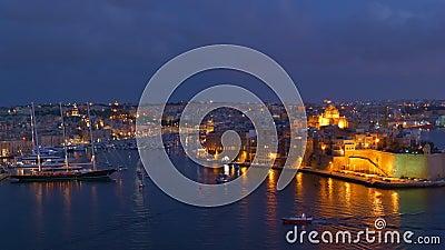 Grand port de nuit à Malte banque de vidéos