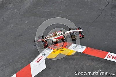 Grand Prix Monaco 2012 - Damaged HRT of De La Rosa Editorial Image