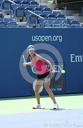 Grand Slam champion Ana Ivanovich practices for US Open 2013 at Arthur Ashe  Stadium at Billie Jean King National Tennis Center Editorial Photo
