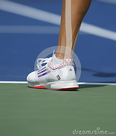 Grand Slam champion Ana Ivanovich wears custom Adidas tennis shoes during fourth round match at US Open 2013 Editorial Image