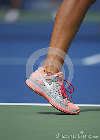 Grand Slam champion Ana Ivanovich wears custom Adidas tennis shoes during fourth round match at US Open 2013 Editorial Photo
