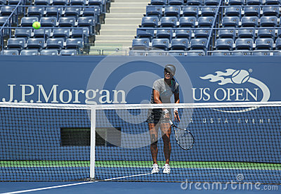 Grand Slam champion Na Li practices for US Open 2013 at Arthur Ashe  Stadium at Billie Jean King National Tennis Center Editorial Stock Image