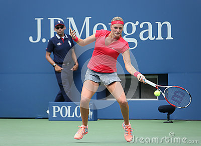 Grand Slam champion Petra Kvitova during first round match at US Open 2013 against Misaki Doi at Billie Jean King National Tennis Editorial Stock Image
