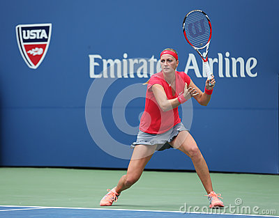 Grand Slam champion Petra Kvitova during first round match at US Open 2013 against Misaki Doi at Billie Jean King National Tennis Editorial Photo