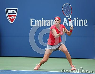Grand Slam champion Petra Kvitova during first round match at US Open 2013 against Misaki Doi at Billie Jean King National Tennis Editorial Photo