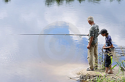 Grandad and grandson fishing