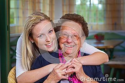 Grandchild visits grandmother