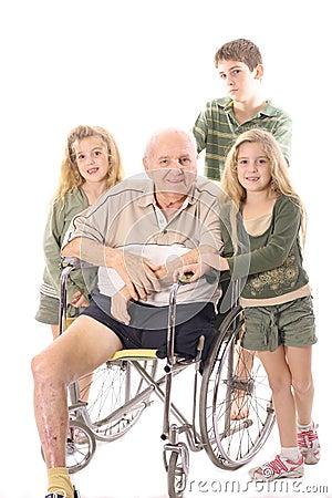 Grandchildren with handicap Grandfather in wheelch