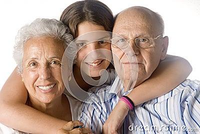 Granddaughter embracing her gr