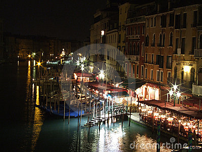 Grande Canal Venice waterside restaurants by night