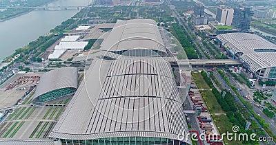 Grande centro espositivo in Cina Mostra internazionale in Cina, vista aerea archivi video