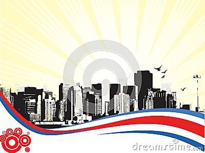 Grande città - Grunge ha designato la priorità bassa urbana. Vettore