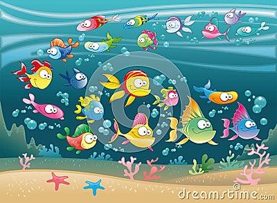 Grande famiglia dei pesci nel mare