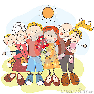 Grande famille heureuse ensemble