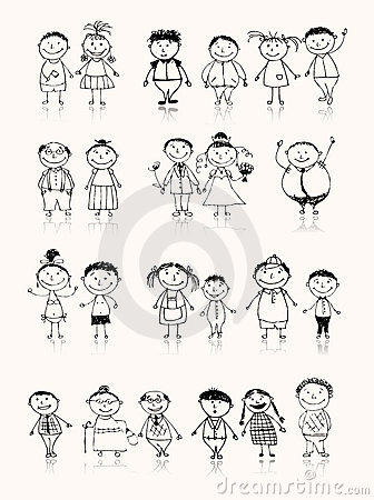 Grande famille heureuse souriant ensemble, croquis de dessin
