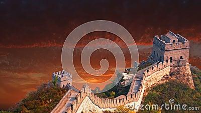 Grande muraglia della Cina, viaggio, Asia, alba, tramonto archivi video